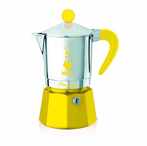 Bialetti - 8052 - Happy - Cafetière Italienne en Aluminium - 3 Tasses - Jaune
