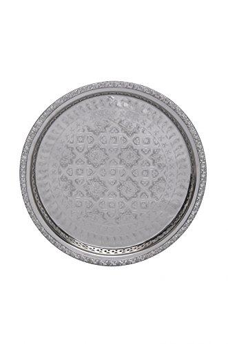 Orientalisches rundes Tablett aus Messing versilbert Nadia 32cm   Marokkanisches Teetablett in der Farbe Silber   Orient Silbertablett silberfarbig   Orientalische Dekoration auf dem gedeckten Tisch (Kupfer-kerze Messing)