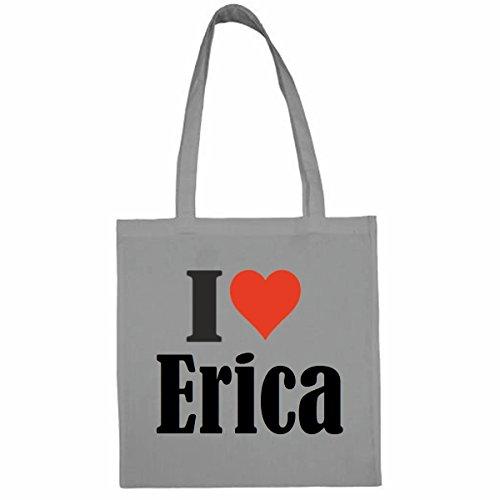 Tasche I Love Erica Größe 38x42 Farbe Grau Druck Schwarz