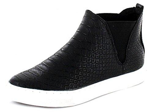 MARCO TOZZI High Top Sneaker da donna in acciaio inox da lavoro Nero effetto Pelle di serpente Nero (nero)