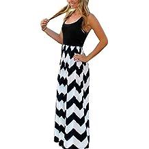 77ce5f2a3f38 Yidarton Donne Estate Onda Beach Abito A Righe Partito Lungo Maxi Dress (M