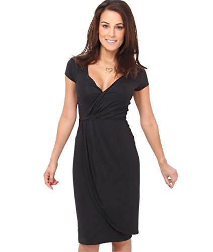 6678-BLK-20: KRISP Damen Jersey Stretch Wrap Kleid (Schwarz, Gr.48)
