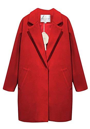 Pureed Parka Damen Lang Trenchcoat Festliche Boyfriend Mantel Elegant Herbst Damenmantel Vintage Frühling Normallacks Langarm Mit Taschen Outerwear Coat Große Größen (Color : Rot, Size : L)