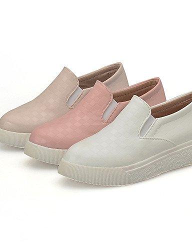 ZQ Damenschuhe-Ballerinas-L?ssig-PU-Flacher Absatz-Stile-Rosa / Wei? / Mandelfarben white-us6.5-7 / eu37 / uk4.5-5 / cn37