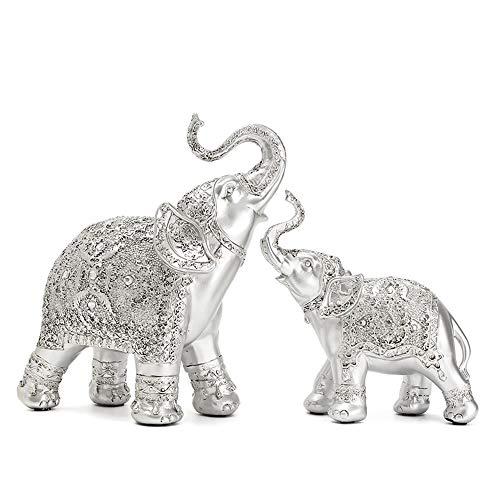ZXDH Statue 2 stücke Neue StylishSilver Polyresin Verzierten Elefanten Statue Glückliche Figur Skulpturen Ornamente für Wohnkultur Handwerk Geschenk