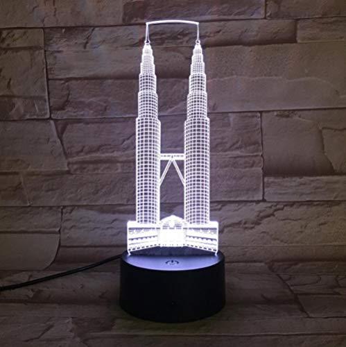SFALHX Twin Towers 3D Neuheit Licht Kreative Touch Desktop Lampen 7 Farben Ändern Schlafzimmer Licht Acryl LED 3D Lampe Atmosphäre Lampe (Desktop-fall-tower)