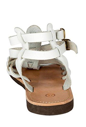 Römer Damen und Herren Sandalen Leder Beige Römersandalen Riemchen Sandale 36 - 47 Viele Größen Weiß