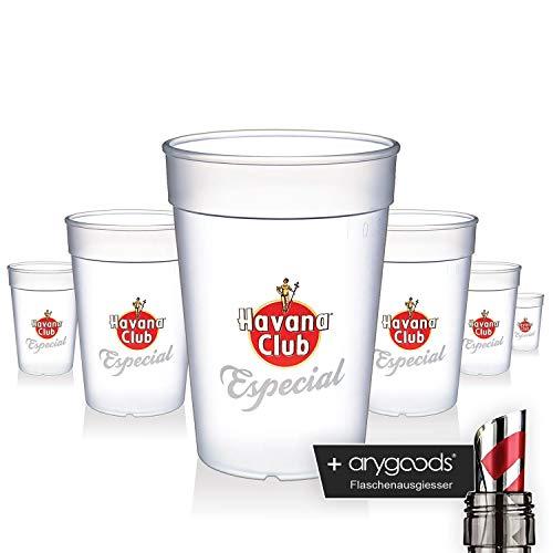 6 x Havana Club Glas Gläser Especial Kunststoff Becher Gastro Bar NEU + anygoods Flaschenausgiesser Kitchen Club
