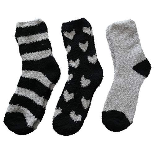 3 Paar Kuschelsocken 35-42 Bettsocken Damen Kuschel Socken Haussocken, Schwarz-mix, 35/42