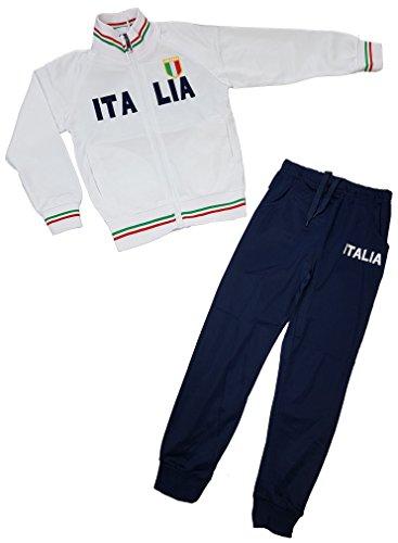 Jungen Trainingsanzug ITALIA, in Weiß/Blau, Gr. 128/134. JF6011.10