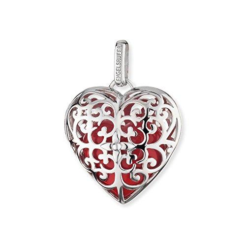 Engelsrufer Herz Anhänger für Damen 925er-Sterlingsilber mit rotem Klangherz 29 mm -