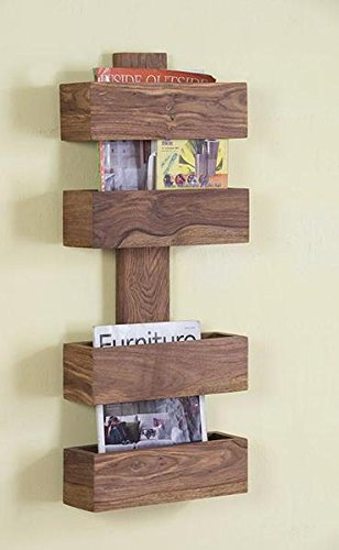 BL Wood Furniture Sheesham Wood Wall Bookcase Magazine Holder for Living Room | Storage Unit | Natural Finish