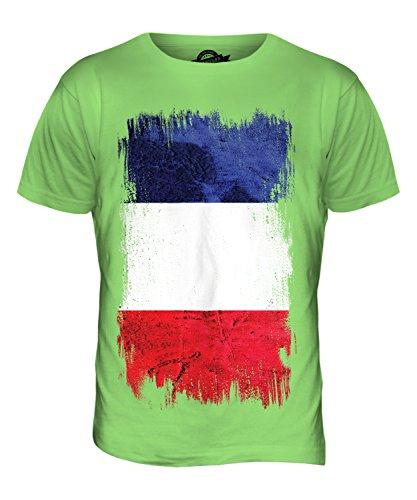CandyMix Francia Bandiera Del Grunge T-Shirt da Uomo Maglietta Verde Lime