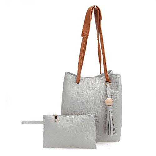 Rrimin 2pcs Women Tassel Drawstring Bucket Bag Tote Bag Shoulder Handbags PU Leather Clutches (Grey)