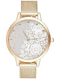 Reloj mujer Charlotte rafaelli de cuarzo reloj Imprimé 36 mm y pulsera dorado malla crf032