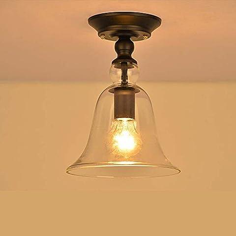 Neixy - Vintage Iron Glass Ceiling Light Fixtures Flush Mount Light Panited Finished E27 Socket