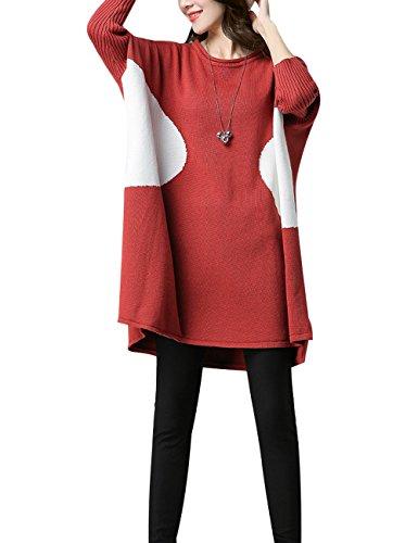 Youlee Femmes Bloc de couleur Grande taille Pull en tricot Rouge