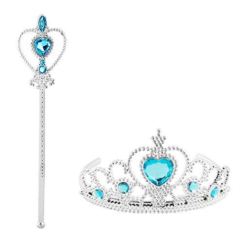 Vicloon Prinzessin Elsa die Schneekönigin Dress Up Accessoires - 2 Stück Geschenk-Set mit Strass Crown Zauberstab Blau (Schnee Leistung)