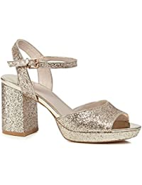 9ca62c54788 Faith Womens Gold Glitter  Dorothy  High Heel Wide Fit Ankle Strap Sandals