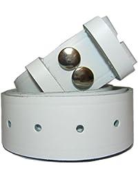 Bucklebox Ceinture en cuir avec fermeture par bouton pression pour boucle amovible