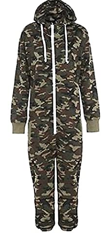 KIDS ARMY CAMO PRINT ONESIE HOODED JUMPSUIT ALL IN ONE BOYS GIRLS FLEECE AGES 2-3, 3-4, 5-6, 7-8, 9-10, 11/12, 13/14 YEARS (9/10