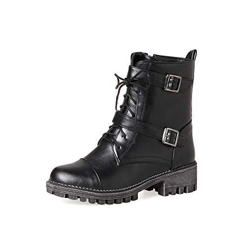 Watopi Damen Schuhe Schnür Combat Boots Einfarbig Schnalle rutschfeste Runde Kappe Kurze Stiefel