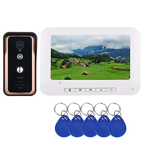 TKFY 7-Zoll-Farb-Video-Gegensprechanlage Türsprechanlage mit RFID-Kartenleser HD Türklingel 1000TVL IR-Cut-Kamera,1screen 7-farb-video