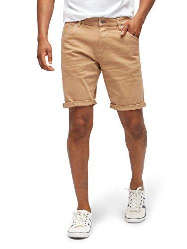 TOM TAILOR Denim Männer Hosen & Chino Regular Fit Shorts Faded Leather Brown, XL (Denim Five-pocket-shorts Im)