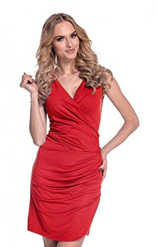 Glamour Empire Femmes été Sans Manches Ruché Surplis V Encolure Robe 045 Rouge