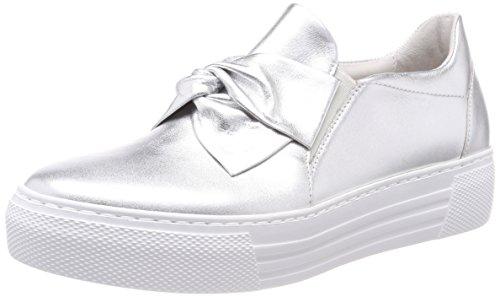 Gabor Shoes Damen Comfort Basic Derbys, Mehrfarbig (Silber (S.Weiss)), 44 EU