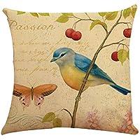 U.Expectating Kissen-H/ülle Pusteblume Birds Dandelion V/ögel Deko-Kissen Baumwollenatur 45x45cm A