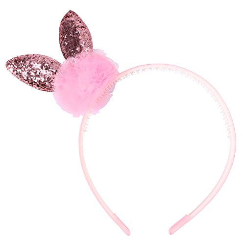 Baby Kids Girls Shiny Sequins Plush Easter Bunny Rabbit Ears Headband Hair Band Christmas Easter Cosplay Costume Accessories Party Favors ()