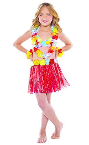 5-7 anni - accessorio per costume costume - travestimento - carnevale - halloween - teatro - gonna hawaiana - fiori - multicolore - bambina