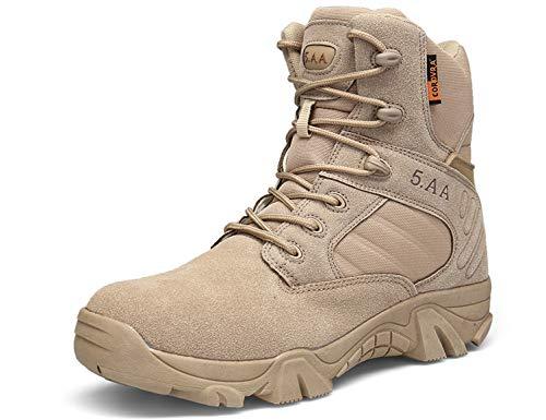 SINOES Wüste Armee Combat Patrol Tactical Einsatzstiefel mit Reissverschluss Seude Leder Jungle Stiefel Tactical Boot