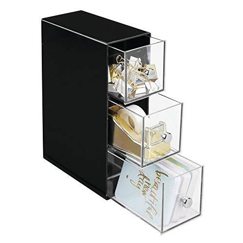 mDesign Schubladenbox – Schreibtisch Organizer mit 3 Schubladen aus Kunststoff– praktisches Ordnungssystem Büro für einen aufgeräumten Arbeitsplatz – schwarz/transparent
