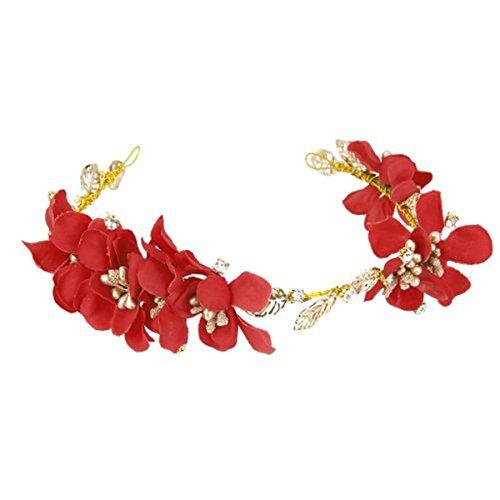 ULTNICE Hochzeit Braut Blume Garland Stirnband Boho Floral Blume Krone Festival Stirn Haarreif Haarschmuck (rot)