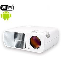 Mileagea Mini Wifi Proyector LED Android 4.4 2600 Lúmenes HDMI USB VGA AV RCA Full HD Proyector Cine en Casa Comercio Educación (blanco)