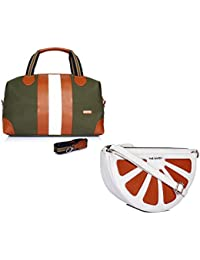 THE MAKER Combo Of Green And Tan White Synthetic Leather Unisex Kilburn Duffle Bag With White And Orange Synthetic...