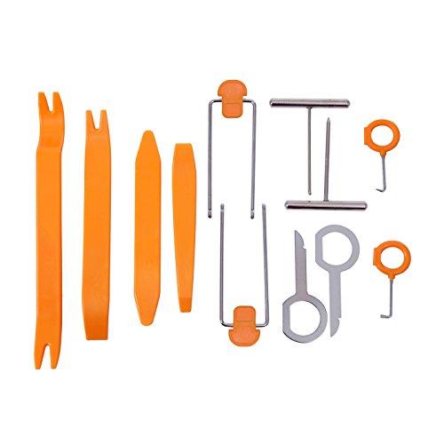 Goliton® 12 Stück Auto Radio Stereo Türverkleidung Armaturenbrett Removal Hebel Werkzeug Kit Audio Installer - Orange Auto-radio-removal-kit