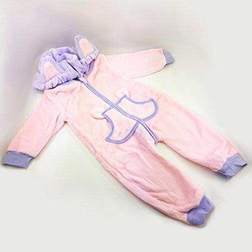 Katara 1778 - Onesie Bébé Kigurumi Pyjama à Capuche Hiver Combinaison de Nuit pour Enfant Unisexe - Costume d'Animal Fantastique - Déguisement pour Cosplay ou Halloween - CN 90 / 12-18 Mois / 73-80cm Rose - Pourpre