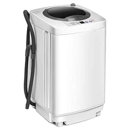 COSTWAY Waschmaschine, Waschvollautomat Toplader, Miniwaschmaschine / 3,5kg / Pump/Display