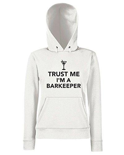 T-Shirtshock - Sweats a capuche Femme BEER0294 Trust me I m a Barkeeper Blanc