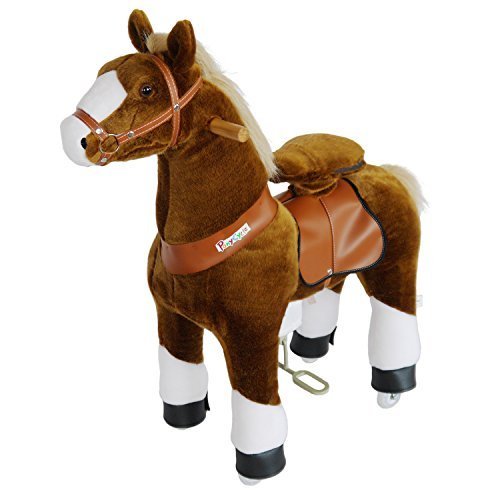 PonyCycle Official Ride On Horse Walking Animal PlushToy wheeled No Battery No Electricity Mechanical Dark Brown with White Hoof Medium for Age 4-9 kid/baby