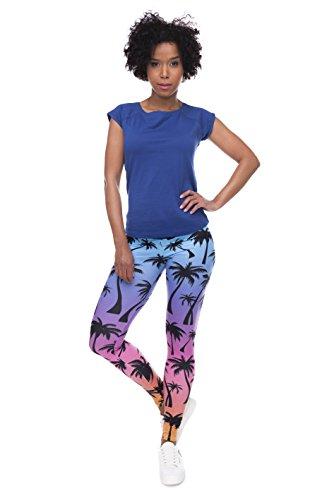 Fringoo Yoga-Leggings für Damen, enganliegend Rainbow Palms