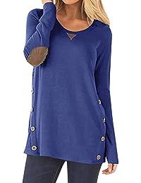 72b71d04d5fc1 Yidarton T-Shirt Femme Manches Longues Pullover Col Rond Casual Vrac Lche Tunique  Tops avec