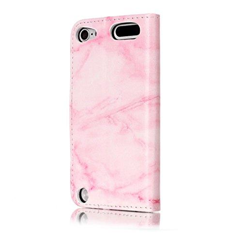 iPhone 5s Ledertasche, iPhone 5 Wallet Case,Lifetrut Marmor Design Premium Leder Geldbörse [Kartenschlitze] [Geldbeutel] Stoßdämpfer-Kasten-Abdeckung für iPhone 5s 5 SE [Rosa grün] E203-Rosa Marmor