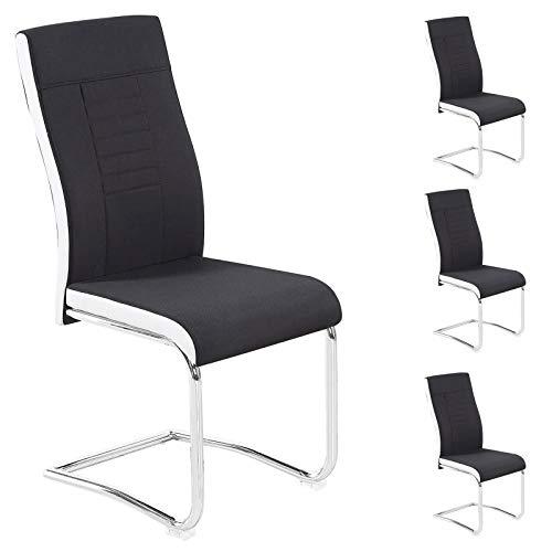IDIMEX Lot de 4 chaises de Salle à Manger ou Cuisine Alba avec Assise rembourrée et piètement chromé, revêtement en Tissu Noir et Blanc