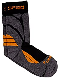 Spaio Calcetines Unisex Trekking Merino, gris/naranja, 44-46
