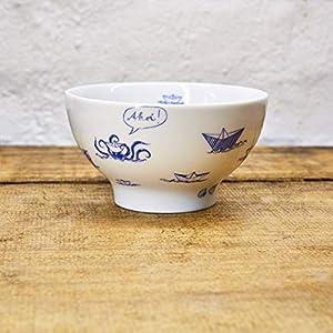 Porzellan Schale - Handgemacht von Ahoi Marie - Motiv Papierschiffe - Maritime Müsli-Schüssel (14cm) - Dessertschale original aus dem Norden
