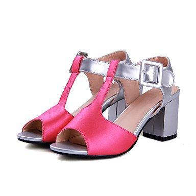 Sandales femmes à bride d'été chaussures de fille de fleur petit talons pour adolescents Parti occasionnels PU & Soirée Talon talon bloc Balades Boucle Fuchsia